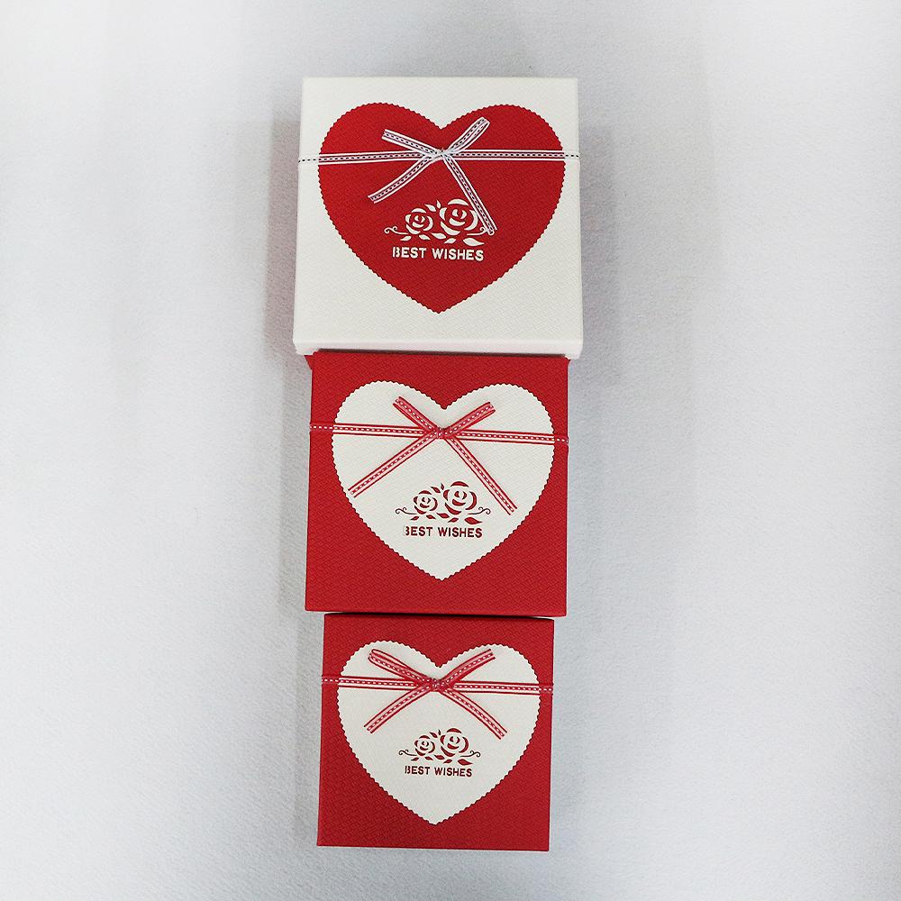 하트 장미 선물상자 3종 세트(레드) [제작 대량 도매 로고 인쇄 레이저 마킹 각인 나염 실크 uv 포장 공장 문의는 네이뽕]