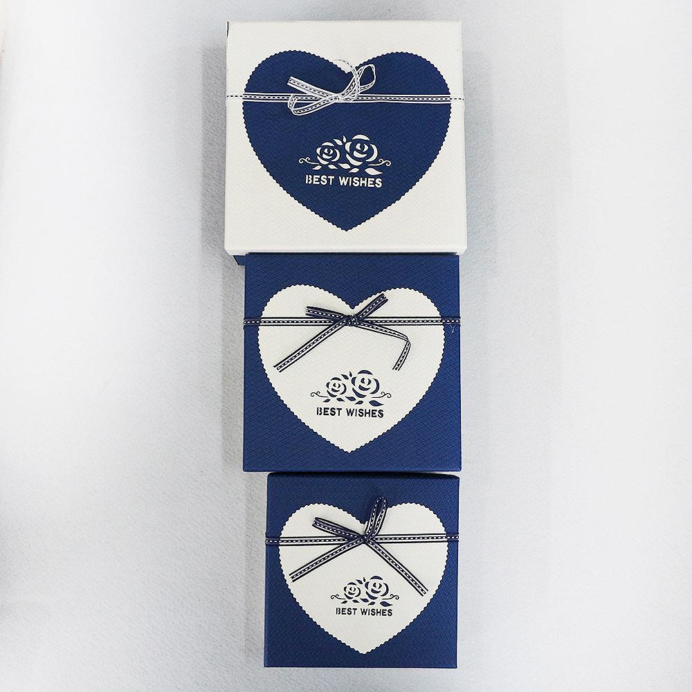 하트 장미 선물상자 3종 세트(블루) [제작 대량 도매 로고 인쇄 레이저 마킹 각인 나염 실크 uv 포장 공장 문의는 네이뽕]