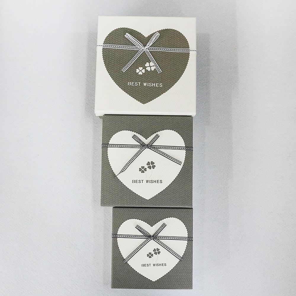 하트 네잎클로버 선물상자 3종 세트(그레이) [제작 대량 도매 로고 인쇄 레이저 마킹 각인 나염 실크 uv 포장 공장 문의는 네이뽕]