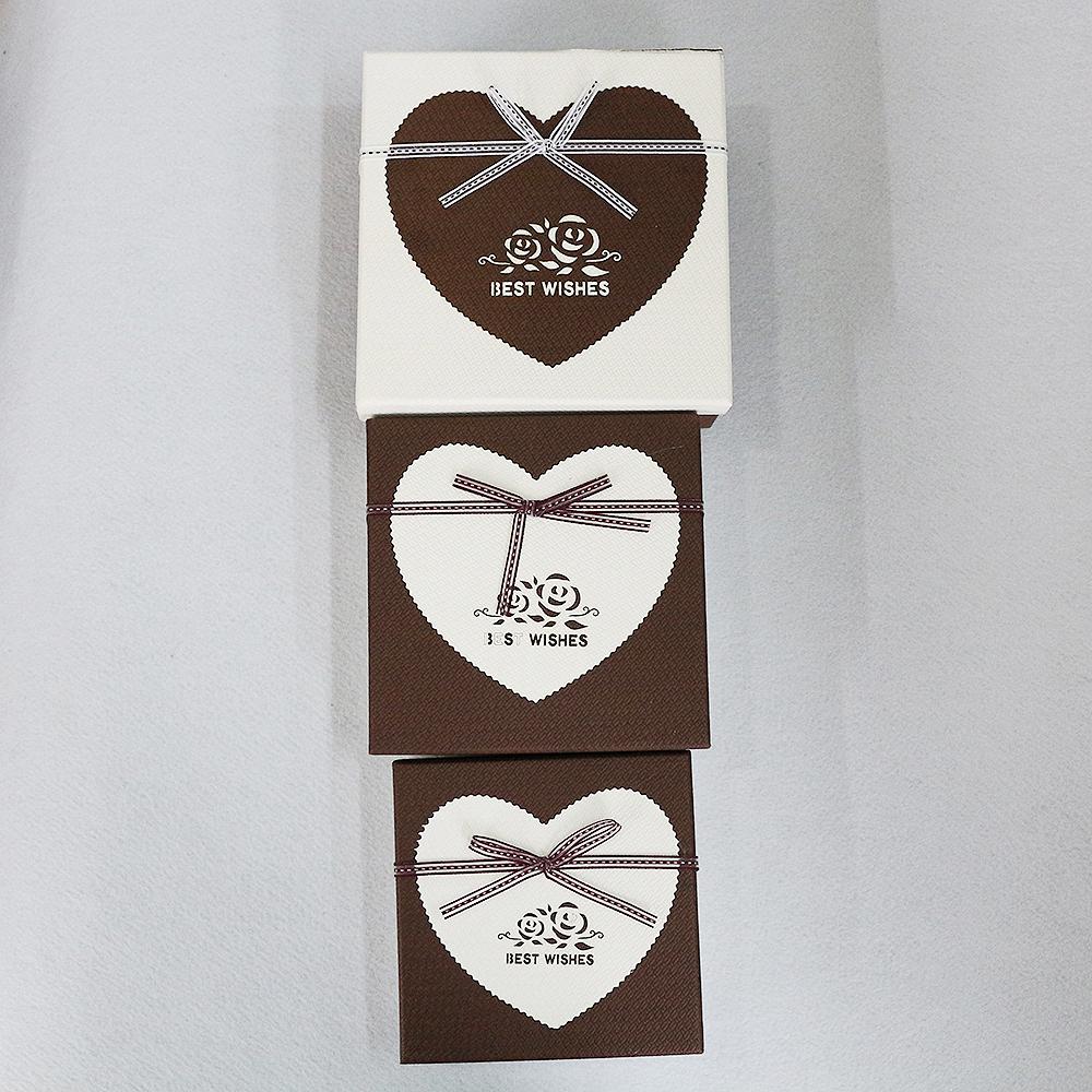 하트 네잎클로버 선물상자 3종 세트(브라운) [제작 대량 도매 로고 인쇄 레이저 마킹 각인 나염 실크 uv 포장 공장 문의는 네이뽕]