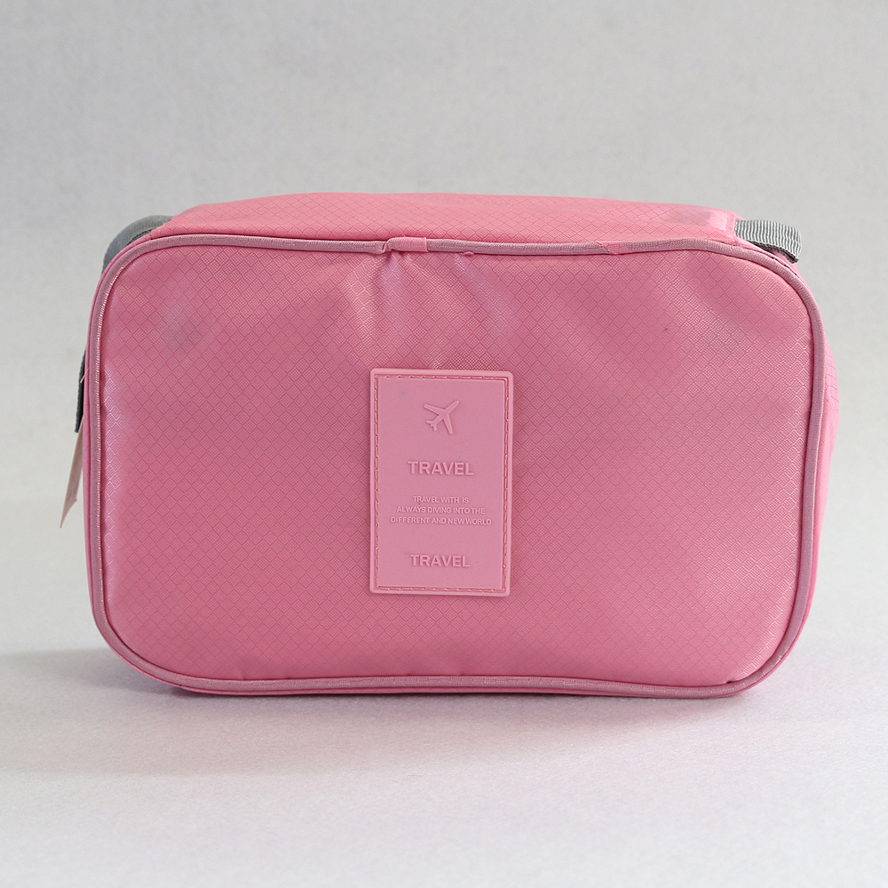 렛츠 프리덤 여행용 파우치 (피치 핑크) [제작 대량 도매 로고 인쇄 레이저 마킹 각인 나염 실크 uv 포장 공장 문의는 네이뽕]