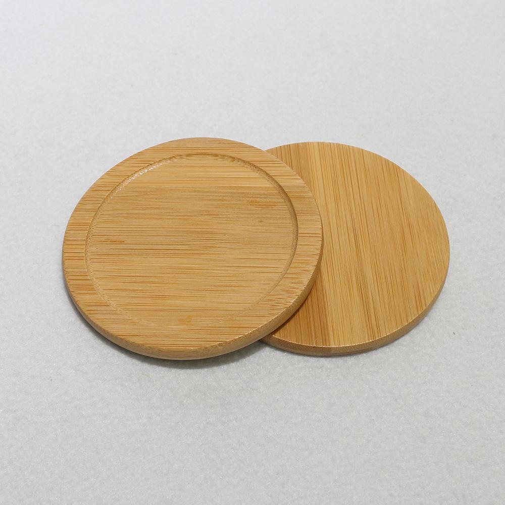 대나무 원형 찻잔 받침 [제작 대량 도매 로고 인쇄 레이저 마킹 각인 나염 실크 uv 포장 공장 문의는 네이뽕]