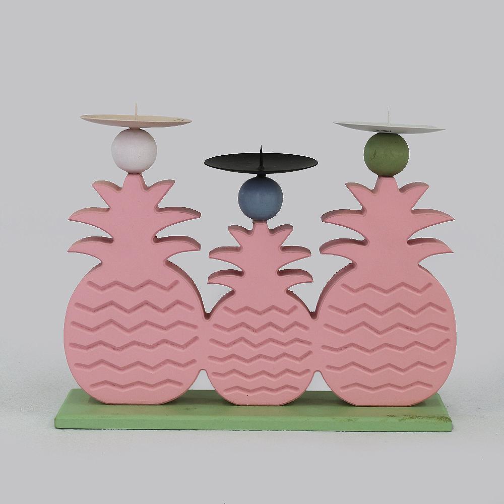 파인애플 삼형제 캔들홀더(핑크) [제작 대량 도매 로고 인쇄 레이저 마킹 각인 나염 실크 uv 포장 공장 문의는 네이뽕]