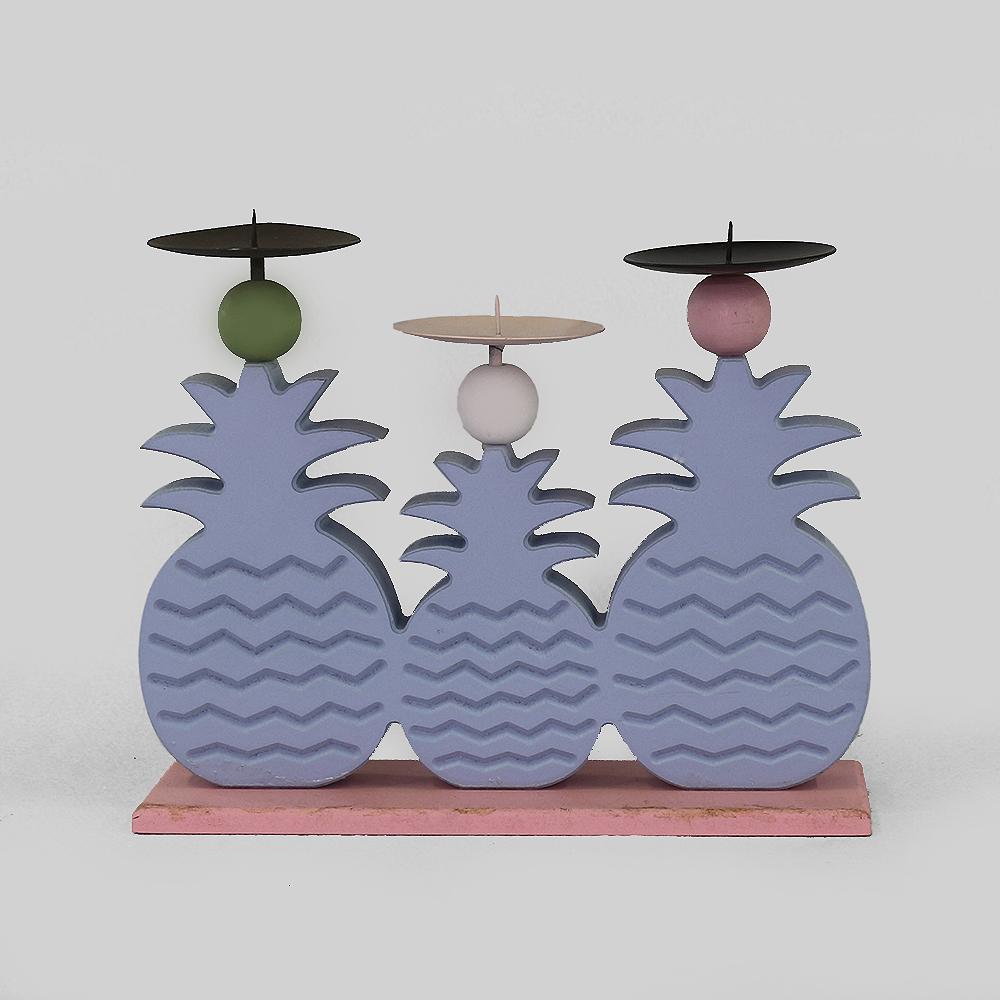 파인애플 삼형제 캔들홀더(블루) [제작 대량 도매 로고 인쇄 레이저 마킹 각인 나염 실크 uv 포장 공장 문의는 네이뽕]