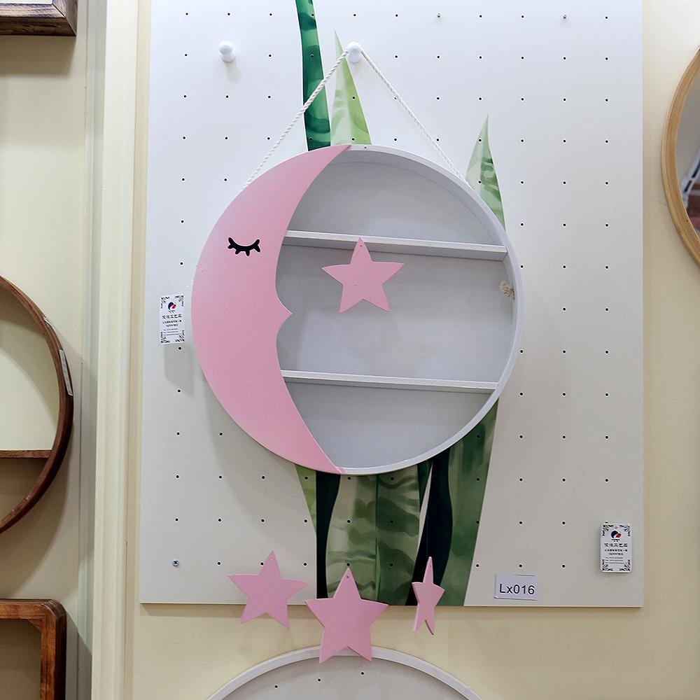 잠자는 달님 3단 인테리어 선반(핑크) [제작 대량 도매 로고 인쇄 레이저 마킹 각인 나염 실크 uv 포장 공장 문의는 네이뽕]