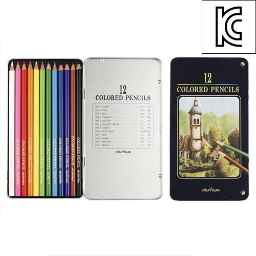 문화 12색 고급 색연필(틴) [제작 대량 도매 로고 인쇄 레이저 마킹 각인 나염 실크 uv 포장 공장 문의는 네이뽕]