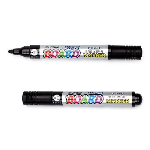 문화 2p 화이트 보드마카(흑) [제작 대량 도매 로고 인쇄 레이저 마킹 각인 나염 실크 uv 포장 공장 문의는 네이뽕]