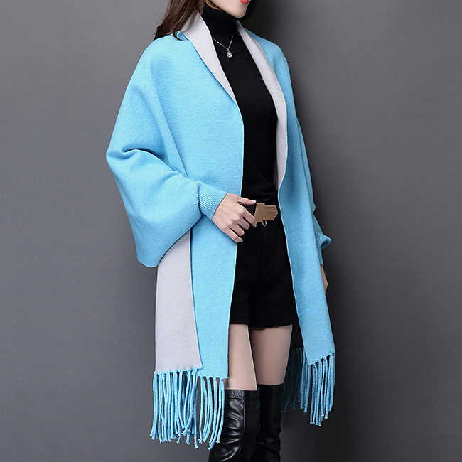 블루+그레이 가디건 숄(185cm) (여성용) [제작 대량 도매 로고 인쇄 레이저 마킹 각인 나염 실크 uv 포장 공장 문의는 네이뽕]