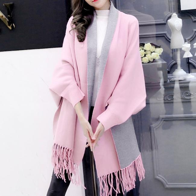 핑크+그레이 가디건 숄(185cm) (여성용) [제작 대량 도매 로고 인쇄 레이저 마킹 각인 나염 실크 uv 포장 공장 문의는 네이뽕]