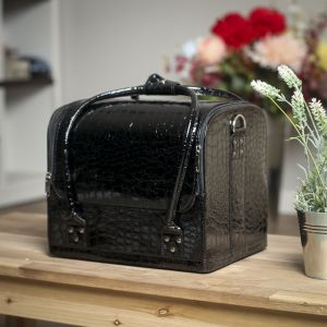 에나멜 악어 메이크업가방(블랙) [제작 대량 도매 로고 인쇄 레이저 마킹 각인 나염 실크 uv 포장 공장 문의는 네이뽕]