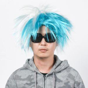 모던 펑키 파티 가발(블루) [제작 대량 도매 로고 인쇄 레이저 마킹 각인 나염 실크 uv 포장 공장 문의는 네이뽕]