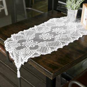 프렌치 레이스 테이블 러너(33x91cm) (화이트) [제작 대량 도매 로고 인쇄 레이저 마킹 각인 나염 실크 uv 포장 공장 문의는 네이뽕]