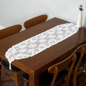 프렌치 레이스 테이블 러너(33x137cm) (화이트) [제작 대량 도매 로고 인쇄 레이저 마킹 각인 나염 실크 uv 포장 공장 문의는 네이뽕]