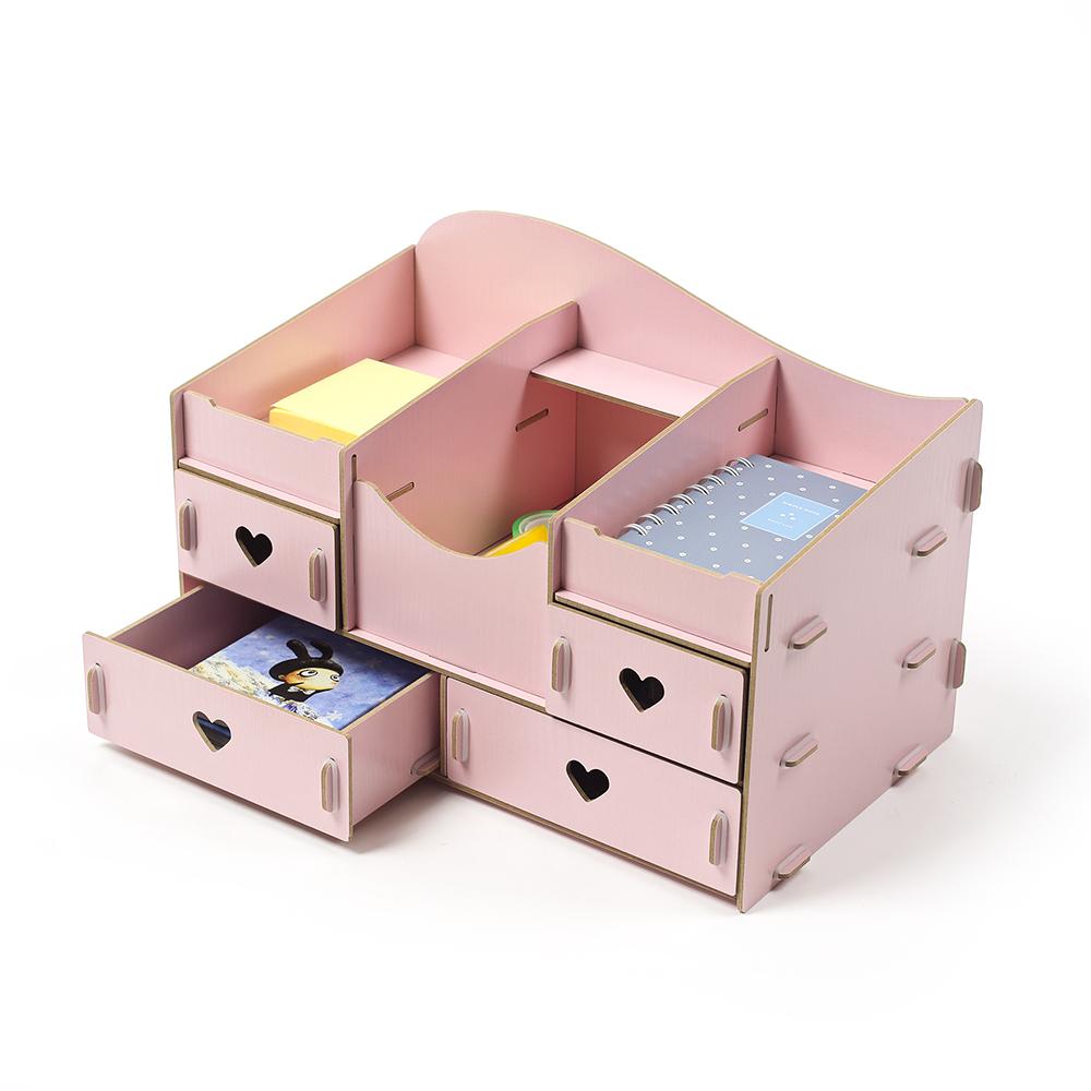 MDF 핑크하트 데스크정리함 [제작 대량 도매 로고 인쇄 레이저 마킹 각인 나염 실크 uv 포장 공장 문의는 네이뽕]