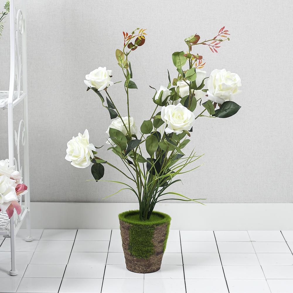 작은정원 장미꽃 조화 화분(화이트)