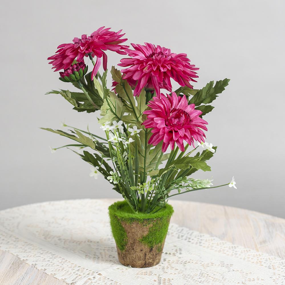 작은정원 국화꽃 조화화분(핑크)/조화꽃 인테리어화분