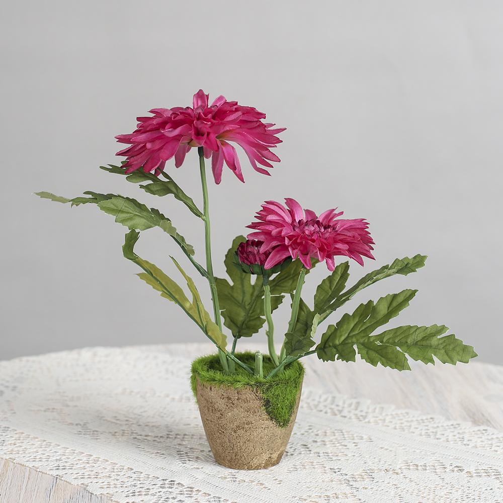 작은정원 국화 조화 화분(핑크)/조화꽃 인테리어 화분