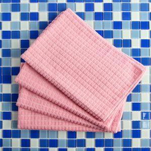 핑크 극세사 손걸레 4p세트 [제작 대량 도매 로고 인쇄 레이저 마킹 각인 나염 실크 uv 포장 공장 문의는 네이뽕]