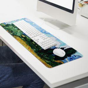 사이프러스가 있는 보리밭 대형 마우스패드(80x30cm) [제작 대량 도매 로고 인쇄 레이저 마킹 각인 나염 실크 uv 포장 공장 문의는 네이뽕]