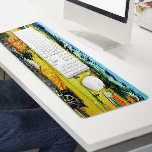 노란 건초 더미 대형 마우스패드(90x40cm) [제작 대량 도매 로고 인쇄 레이저 마킹 각인 나염 실크 uv 포장 공장 문의는 네이뽕]