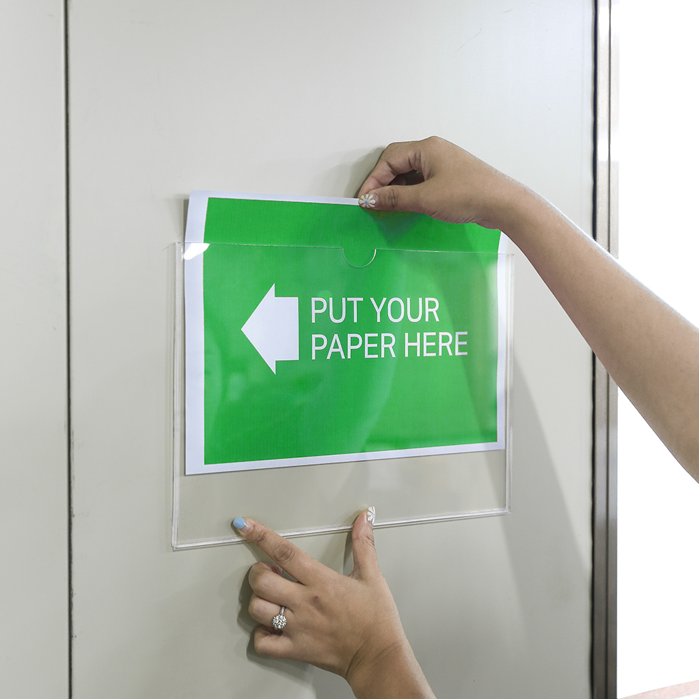 투명 아크릴 부착용 알림판 (가로) (양면테이프無) [제작 대량 도매 로고 인쇄 레이저 마킹 각인 나염 실크 uv 포장 공장 문의는 네이뽕]