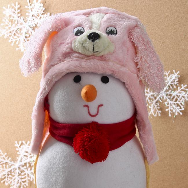 강아지 귀달이 모자(화이트 핑크) (어린이용) [제작 대량 도매 로고 인쇄 레이저 마킹 각인 나염 실크 uv 포장 공장 문의는 네이뽕]