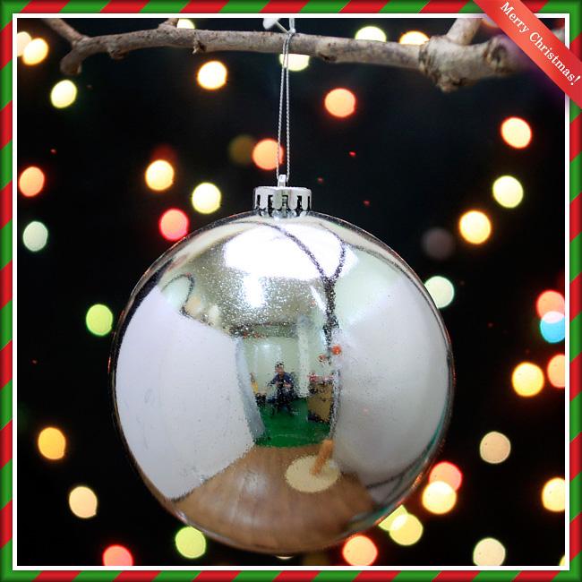 크리스마스 대형 트리 장식 실버 유광볼 14cm