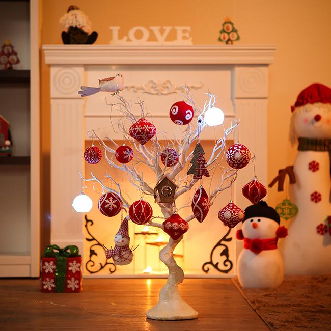 75cm 화이트 레드볼 풀세트트리 / 크리스마스트리 크리스마스츄리 크리스마스트리풀세트 크리스마스벽트리 크리스마스트리나무 대형크리스마스트리 크리스마스트리만들기