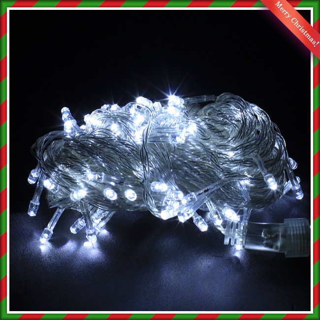NEW 100구 LED 크리스마스 백색트리전구 8M 점멸有