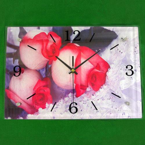 빛바랜 장미 그림 벽시계(38cmx26cmx2.8cm)