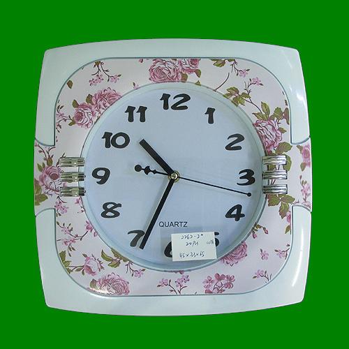 핑크장미 화이트 사각 벽시계(31.5cmx31.5cm)