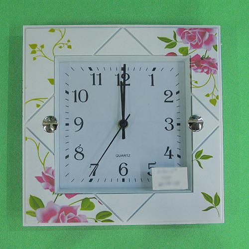 분홍장미 사각무늬 벽시계(26cmx26cm)