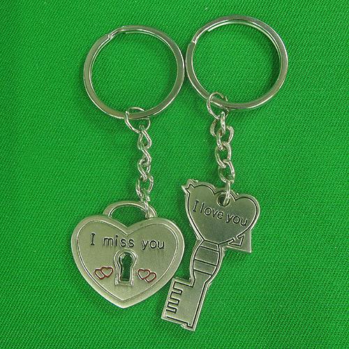 러브 자물쇠 커플 열쇠고리(3cmx8.3cm)