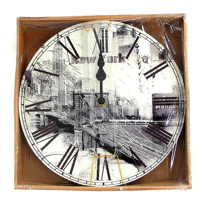 엔틱 뉴욕 원형  목판 벽시계
