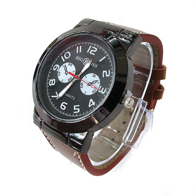 베이스 투 써클 가죽 손목시계(브라운)