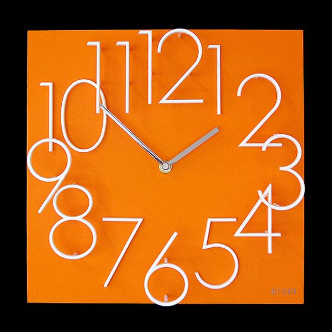 입체 사각 벽시계(오렌지)