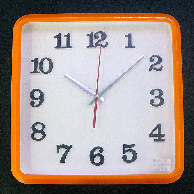 심플 컬러라인 사각 벽시계(오렌지)