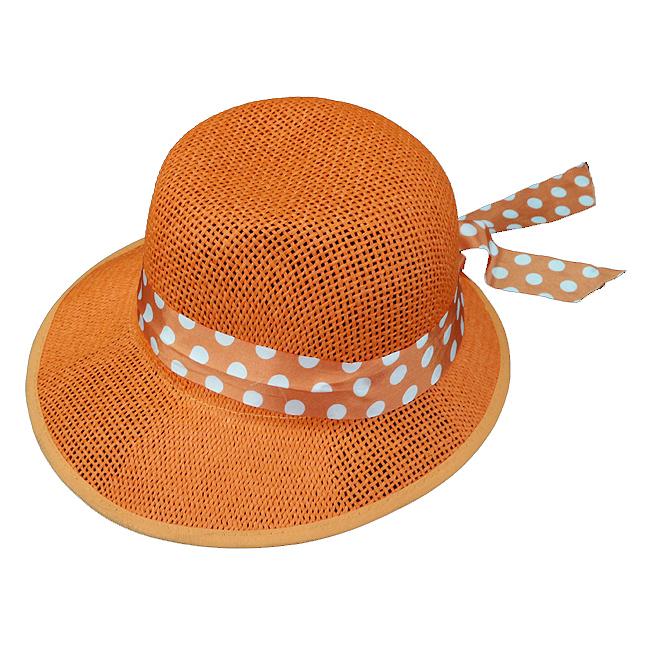 심플 컬러 도트 리본 패션 모자
