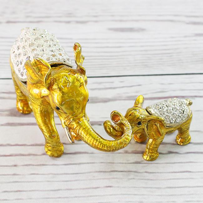 2종 어미와 새끼 코끼리 장식품