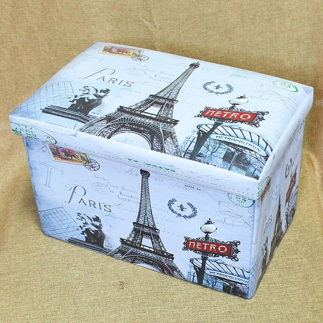 빈티지 직사각 수납의자(에펠탑A)