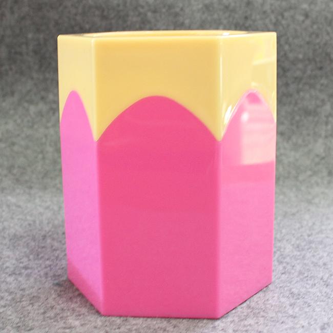 육각 컬러 연필꽂이(핑크)