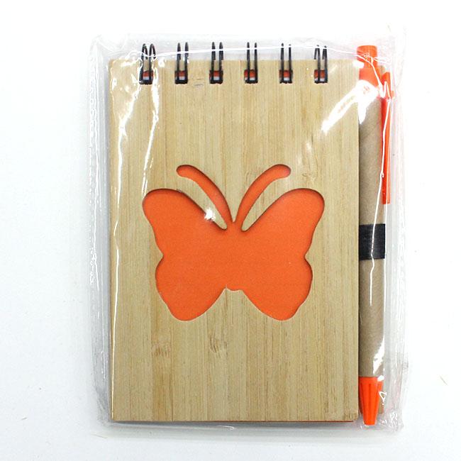 대나무 나비 핸디수첩(오렌지) (9cmx13cmx1cm)