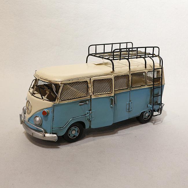 클레식 철제 캠핑버스 장식품A(블루)