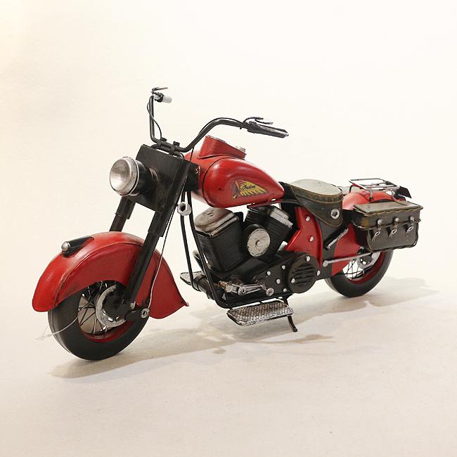 모형 철제 클래식 오토바이(레드)