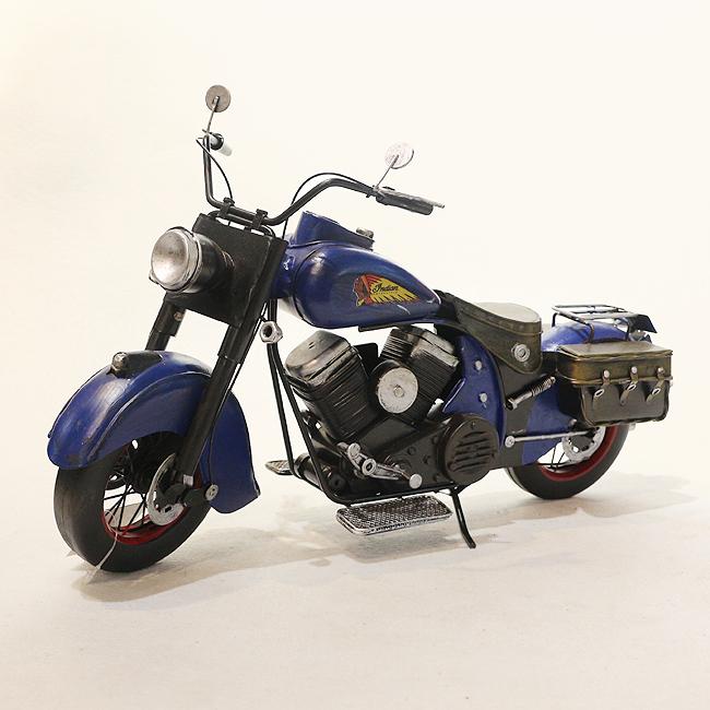 모형 철제 클래식 오토바이(블루)