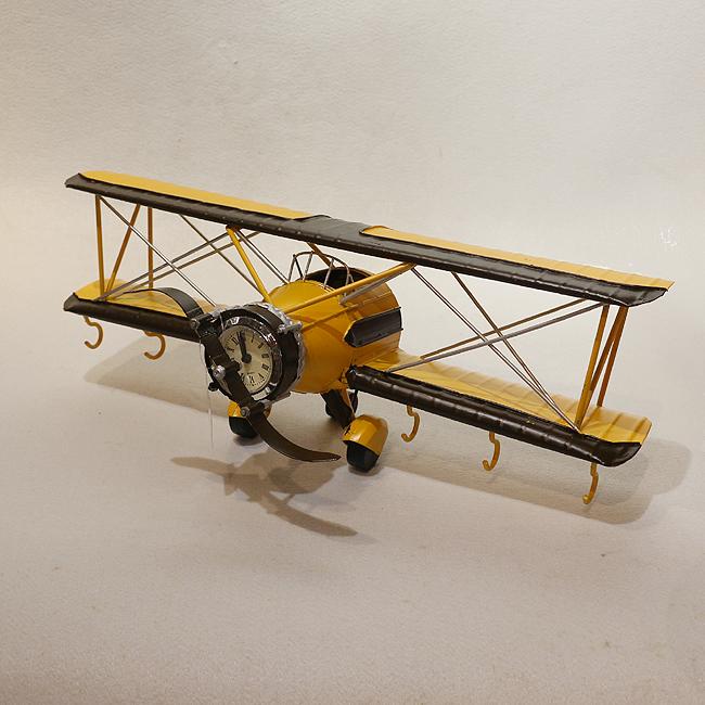 모형 철제 클래식 비행기(옐로우)