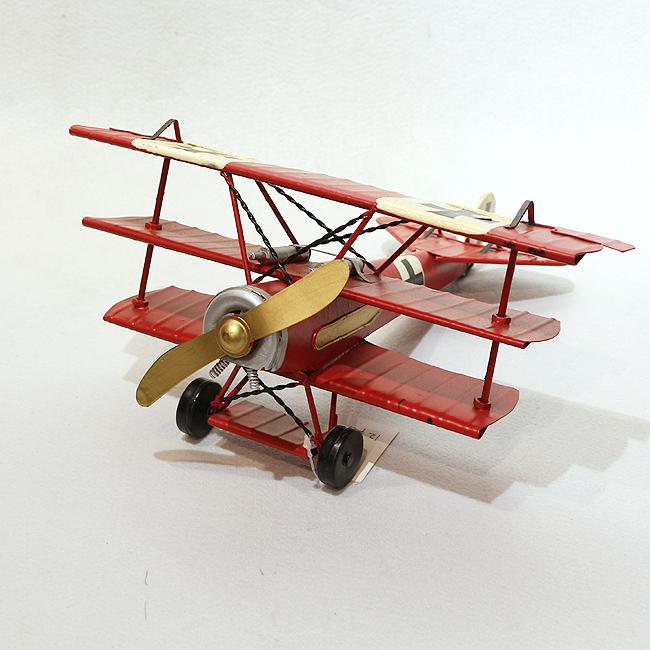 모형 철체 클래식 3층 날개 비행기