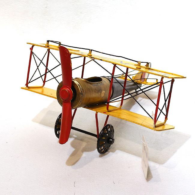 모형 철제 엔틱 이중 날개 비행기(옐로우)