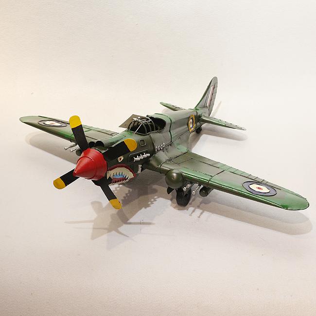 모형 철제 엔틱 전투기(녹색)