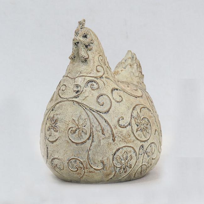 꽃문양 암닭 조각상